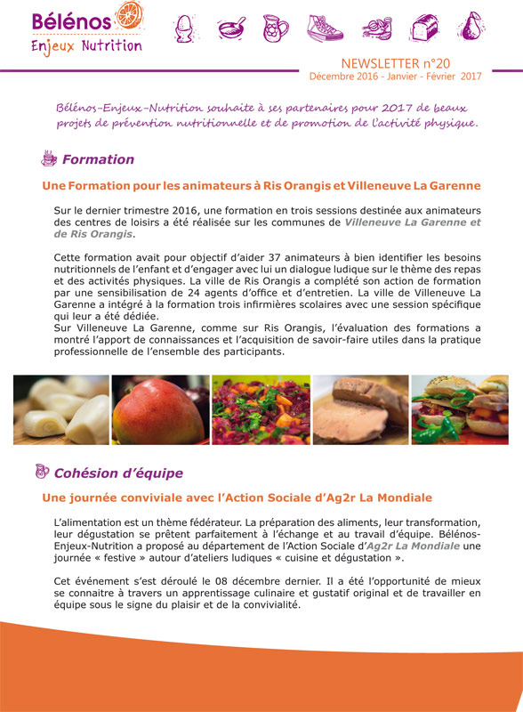 Newsletter 20 - Bélénos Enjeux Nutrition - Décembre 2016 / Janvier - Février 2017