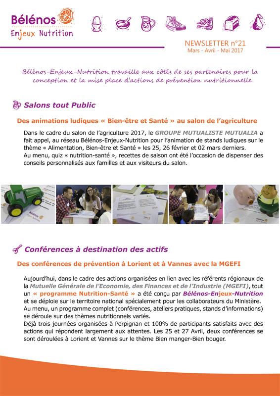 Newsletter 21 - Bélénos Enjeux Nutrition - Mars / Avril / Mai 2017