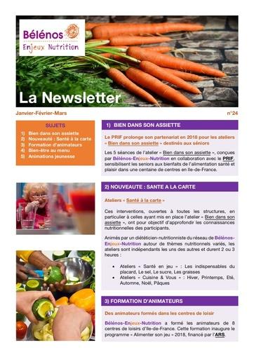 Newsletter 24 - Bélénos Enjeux Nutrition - Janvier/Février/Mars 2018