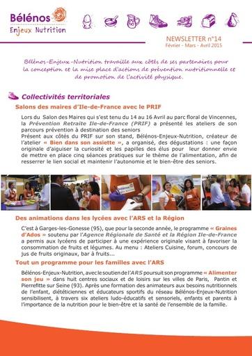 Newsletter 14 - Bélénos Enjeux Nutrition - Février / Mars / Avril 2015