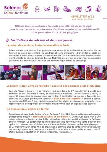 Newsletter 18 - Bélénos Enjeux Nutrition - Avril / Mai / Juin 2016