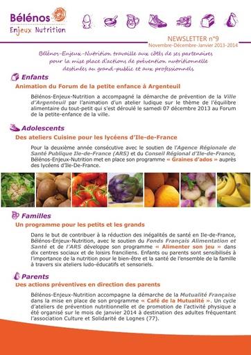 Newsletter 09 - Bélénos Enjeux Nutrition - Novembre / Décembre / Janvier 2013-2014