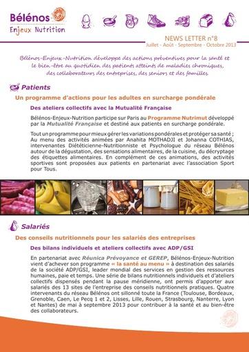 Newsletter 08 - Bélénos Enjeux Nutrition - Juillet / Août / Septembre / Octobre 2013