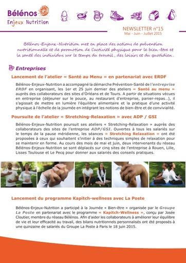 Newsletter 15 - Bélénos Enjeux Nutrition - Mai / Juin / Juillet 2015