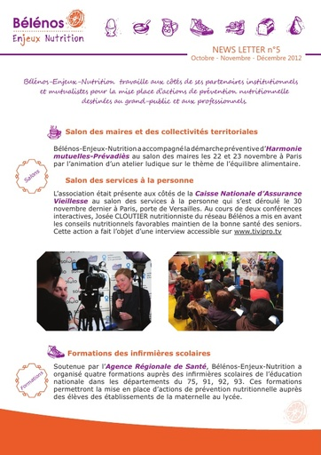 Newsletter 05 - Bélénos Enjeux Nutrition - Octobre / Novembre / Décembre 2012