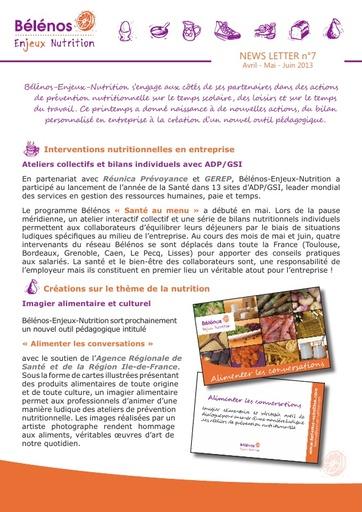 Newsletter 07 - Bélénos Enjeux Nutrition - Avril / Mai / Juin 2013