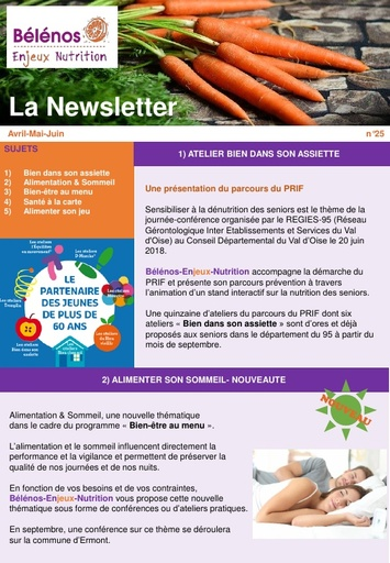 Newsletter 25 - Bélénos Enjeux Nutrition - Avril/Mai/Juin 2018