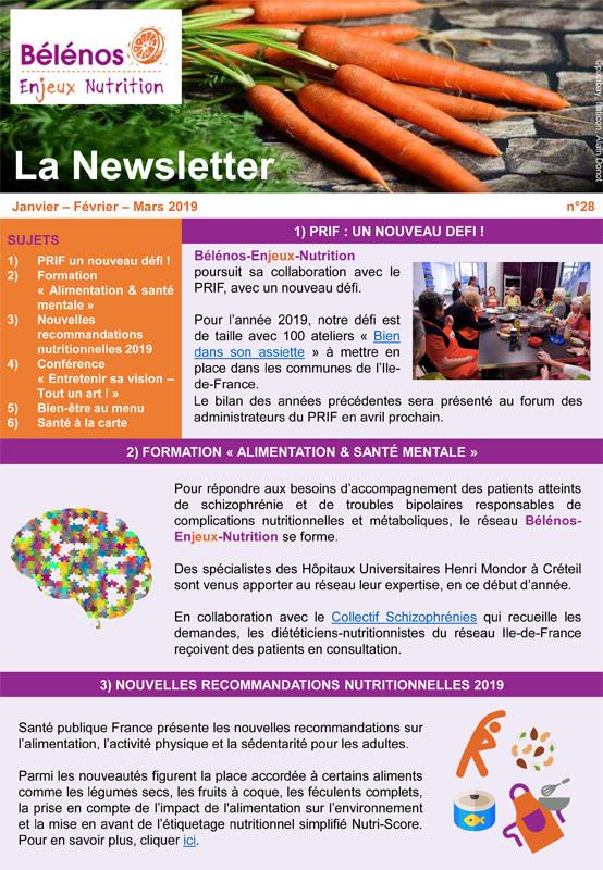 Newsletter 28 - Bélénos Enjeux Nutrition - Janvier/Février/Mars 2019