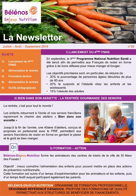 Newsletter 30 - Bélénos Enjeux Nutrition - Juillet/Août/Septembre 2019