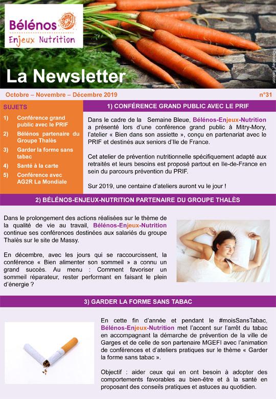 Newsletter 31 - Bélénos Enjeux Nutrition - Octobre/Novembre/Décembre 2019
