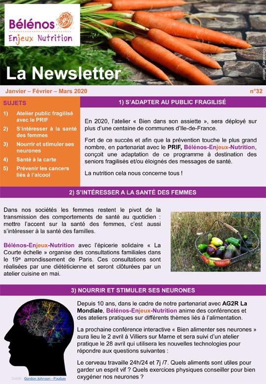 Newsletter 32 - Bélénos Enjeux Nutrition - Janvier/Février/Mars 2020