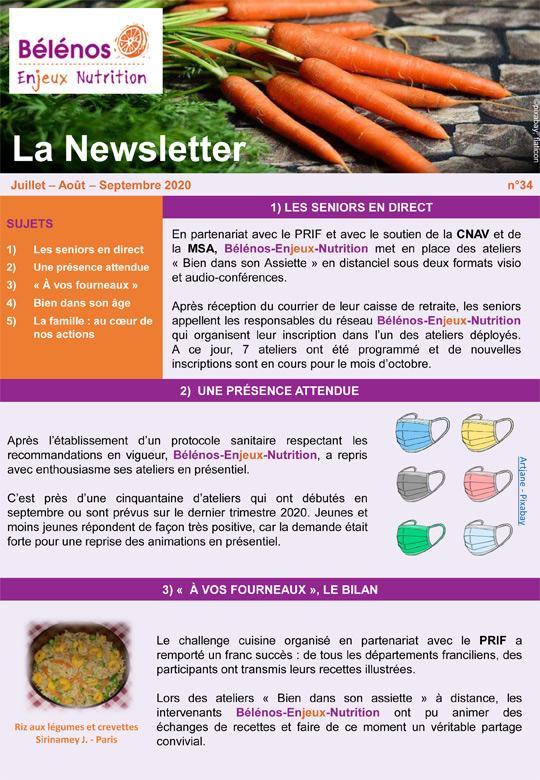 Newsletter 34 - Bélénos Enjeux Nutrition - Juillet/Août/Septembre 2020