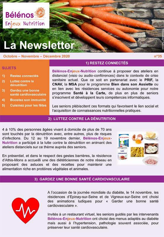 Newsletter 35 - Bélénos Enjeux Nutrition - Octobre/Novembre/Décembre 2020