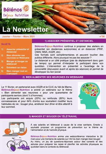 Newsletter 36 - Bélénos Enjeux Nutrition - Janvier/Février/Mars 2021