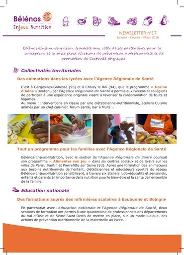 Newsletter 17 - Bélénos Enjeux Nutrition - Janvier / Février / Mars 2016