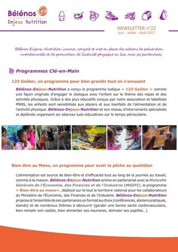 Newsletter 22 - Bélénos Enjeux Nutrition - Juin / Juillet / Août 2017