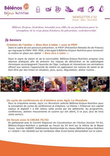 Newsletter 10 -  Bélénos Enjeux Nutrition - Février / Mars / Avril 2014