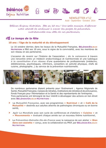 Newsletter 12 - Bélénos Enjeux Nutrition - Août / Septembre / Octobre 2014