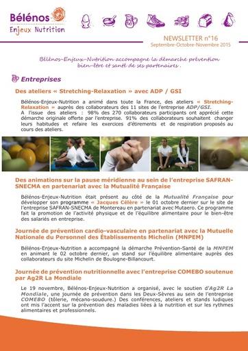 Newsletter 16 - Bélénos Enjeux Nutrition - Septembre / Octobre / Novembre 2015