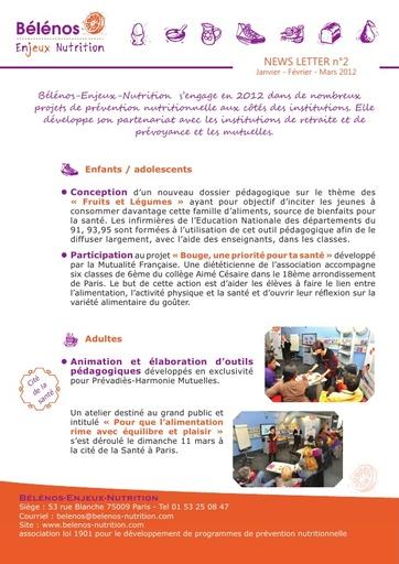 Newsletter 02 - Bélénos Enjeux Nutrition - Janvier / Février / Mars 2012