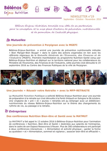 Newsletter 19 - Bélénos Enjeux Nutrition - Septembre / Octobre / Novembre 2016