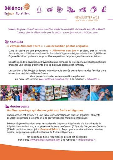 Newsletter 11 - Bélénos Enjeux Nutrition - Mai / Juin / Juillet 2014