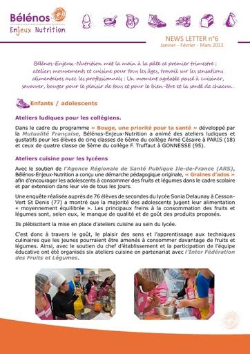 Newsletter 06 - Bélénos Enjeux Nutrition - Janvier / Février / Mars 2013