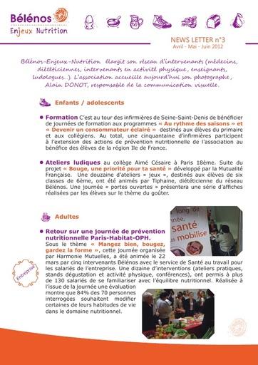 Newsletter 03 - Bélénos Enjeux Nutrition - Avril / Mai / Juin 2012