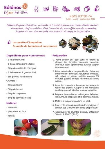 Newsletter 04 - Bélénos Enjeux Nutrition - Juillet / Août / Septembre 2012