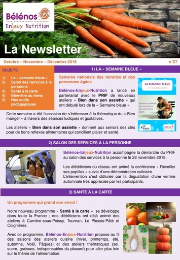 Newsletter 27 - Bélénos Enjeux Nutrition - Octobre/Novembre/Décembre 2018