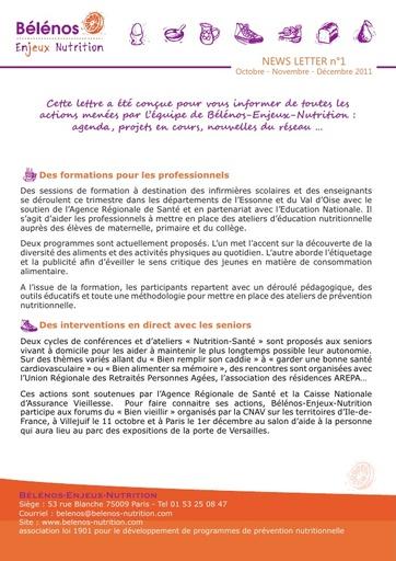 Newsletter 01 -  Bélénos Enjeux Nutrition - Octobre / Novembre / Décembre 2011