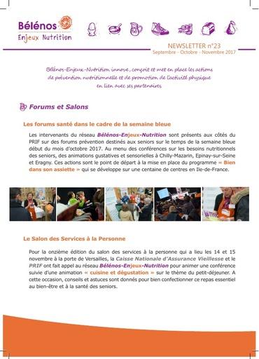 Newsletter 23 - Bélénos Enjeux Nutrition - Septembre/Octobre/Novembre 2017