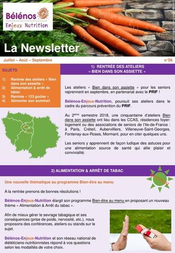 Newsletter 26 - Bélénos Enjeux Nutrition - Juillet/Août/Septembre 2018
